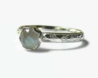 Sterling silver labradorite ring sterling silver ring silver gemstone stacking ring sterling silver stacking ring stackable ring