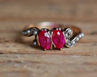 Vintage 1910s 10K synthetic ruby and seed pearl dress ring