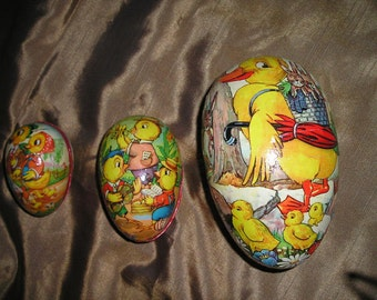 Vintage Easter Eggs Paper Mache German Candy Containers Nester Egg Lot. Illustrated w/Ducks.Fab.