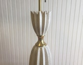"""MID CENTURY ATOMIC Lamp Off White with Gold Accents/Three Bulbs/37"""" Height/1960's Modern Lamp at Modern Logic"""