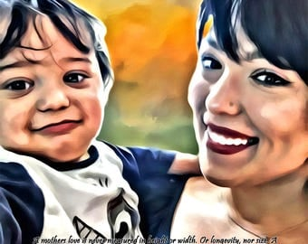 Mothers Day Gift Painting Portrait Baby Nursery Custom Canvas Unique Personalized Decoration for Nursery 16x20