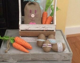 Burlap Bunny-Stuffed burlap bunny-Burlap Rabbit-Easter Decor-Spring Decor