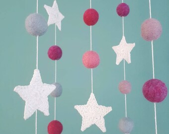 Stars Baby Mobile, Girl Baby Mobile, Baby Mobiles Hanging, Felt Balls Mobile, Planets Nursery Mobile, Natural Baby Decor, Pink Space Mobile