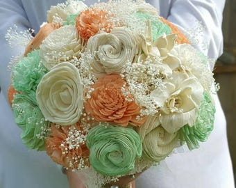 Sola Flower Bouquet, Wood Flower Bouquet, Romantic Wedding Bouquet, Eco friendly Flowers, Rustic Bouquet, Burlap Bouquet, Peach and Mint