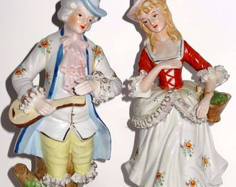 Victorian Tall Statues Man and Woman Porcelain Home and Garden Collectibles Figurines