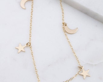 Gold Tiny Moon and Star Choker, Gold Tiny Star Choker Necklace, Gift for Her, Dainty Gold Choker, Silver Choker Necklace, Simple Choker