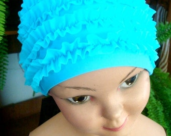 turquiose Ruffled Bathing Cap childs swim cap