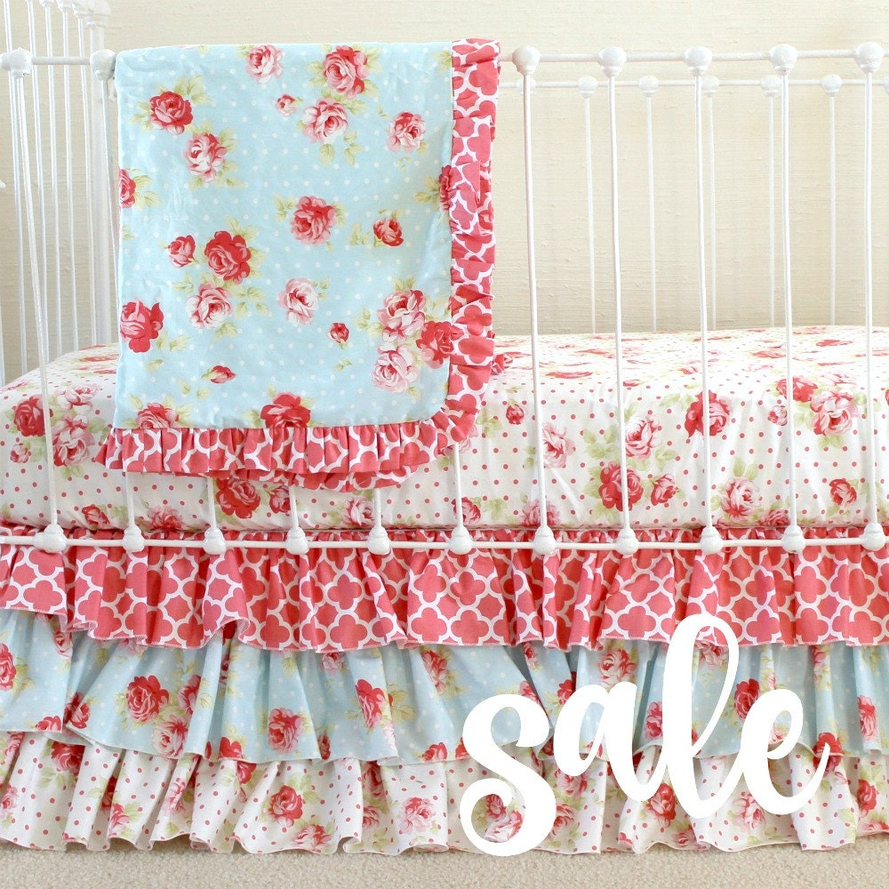 Sale shabby chic roses baby girl bedding set cottage style - Shabby chic bedroom sets for sale ...