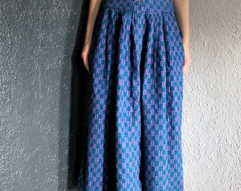 Vintage Fall Leaves Flannel Long Skirt with Pockets Buttons XS/S
