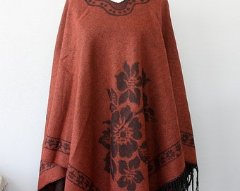 Bohemian poncho Rust Burnt orange Native clothing Winter fashion Boho chic cape Women clothings Hippie outerwear Vegan poncho