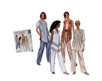 McCall's 7600 Sewing Pattern, Misses Draped Vest Pattern, Misses Top Pattern, Misses Pants Pattern, Ladies Clothing Pattern, Misses Fashion