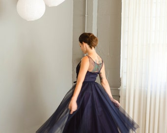 Vintage 1950's Navy Blue Tulle Party Dress