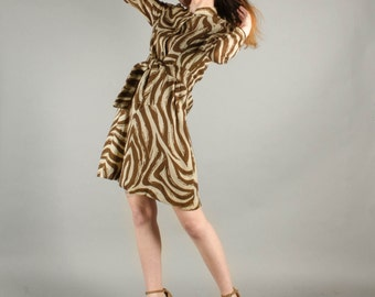 Vintage 1970's Wool Zebra Print Long Sleeve Mini Dress
