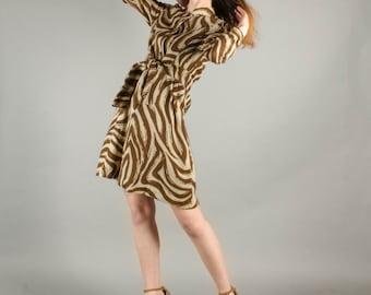 Vintage 1970's Wool Zebra Print Long Sleeve Mini Dress