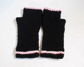Black Fingerless Gloves, Handmade Crochet Arm Warmers, Basic Black with Pink Trim, Fits Like A Glove Wear Anywhere Knit Gloves