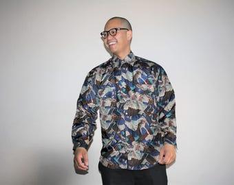 Vintage 90s Adidas Abstract Tribal Graphic Hip Hop Silk Shirt - 1990s Adidas Shirt - 90s Clothing - MV0013