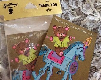 Vintage 1960s 1970s Paper Thank You For Baby Gift Notes 3 Cards & 3 Envelopes Deadstock Never Used Teddy Bear On Rocking Horse