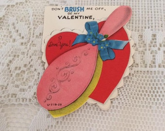 Vintage 1950s Valentine Card Hairbrush Theme Collectible Paper Ephemera Arts Crafts Scrap Booking