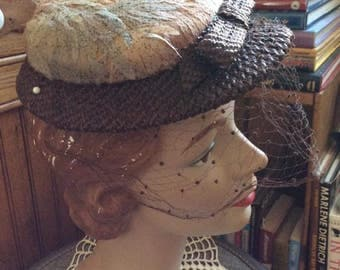 Vintage 1950s Hat Cellophane Straw & Fabric Chanda-Martha Weathered With Veiling