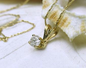 14k Diamond Solitaire Necklace Pendant .15ctw 14k YG Chain