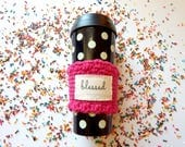 Hot pink coffee cup sleeve, travel mug cozy, blessed & choose joy, holiday gift ideas for women, Christmas gifts under 20 for her