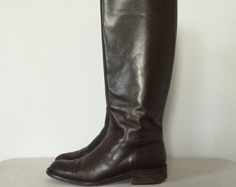 dark chestnut riding boots | italian leather boots | 7.5
