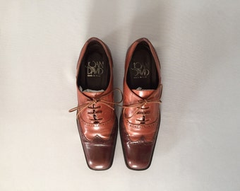 Joan&David two tone chestnut oxfords   perforated leather brogues