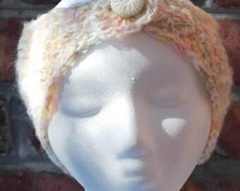 White Angora Wide Headband or Ear Warmers