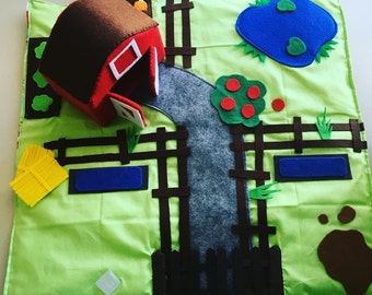 Fold up and Carry along Travel play mat - on the farm