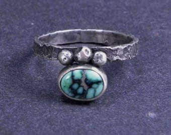 Turquoise Ring, Raw Silver, Sterling Silver,  Boho, Silversmith, Size 9 1/4