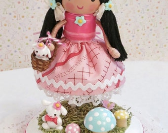 Personalized Handmade Cake Woodland Party Garden Party Vintage Style Little Girl Cake Topper Young Girl Baby Girl Toddler Girl Birthday