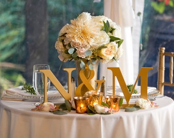 Wedding Initial 3-Piece Set - Painted Letters Standing on Bases for Candy Bar or Table Wedding Decor - Wedding Initial Signs (Item - INI200)