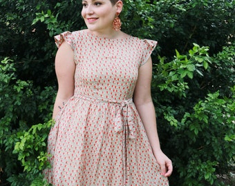 Grey + Pink Pear Print Dress - Only 1 left!