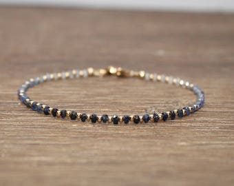Dainty Shaded Blue Sapphire Bracelet, Gold Filled, Sterling Silver or Rose Gold, Stacking Bracelet, Sapphire Jewelry, September Birthstone,
