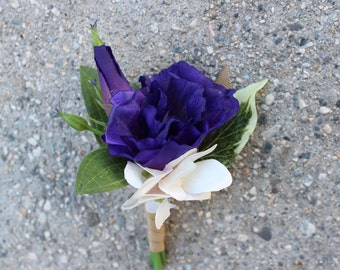 Purple Silk Flower Boutonniere, Bridal, Floral, Wedding, Corsage, Lisianthus, Hydrangea, Groom, Groomsmen, Faux, Natural, Rustic, Vintage