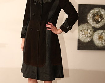 Carnaby street vintage 60s  black leather and suede trench spy coat