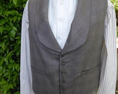 "Men's 19th century gray brown plaid wool vest,  X-Large, chest 46-48"", 1845-1860s style"