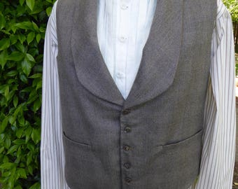 """Men's 19th century gray brown plaid wool vest,  X-Large, chest 46-48"""", 1845-1860s style"""