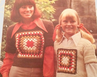 Grannies Granny Pattern Child's Sweater, Adult Sweater, Great Granny Rectangular Afghan Leisure Arts Leaflet 58 1975, Worsted Weight Crochet