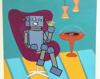 Robot of Leisure: Habitat of Leisure - original artwork - acrylic on canvas