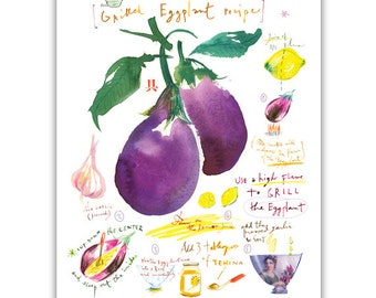 Grilled eggplant recipe print, Watercolor recipe art, Kitchen print, Food illustration, Vegetable art, Kitchen decor, 8X10, Middle east food