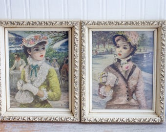 Vintage Huldah Print, Lady Woman Portrait, Impressionism, Tavern on Green, Central Park, 1920's Shabby Cottage Decor