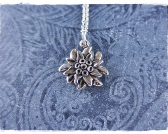 Silver Edelweiss Flower Necklace - Sterling Silver Edelweiss Flower Charm on a Delicate Sterling Silver Cable Chain or Charm Only