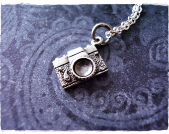 Tiny Camera Necklace - Tiny Sterling Silver Camera Charm on a Delicate Sterling Silver Cable Chain or Charm Only