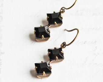 Small Black Rhinestone Dangle Earrings on Antiqued Brass Hooks, Everyday Jewelry