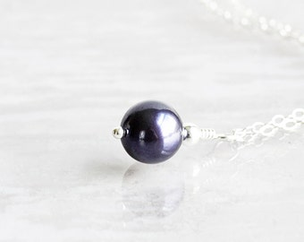Small Dark Purple Crystal Pearl Pendant Necklace on Sterling Silver Chain (Swarovski Elements)