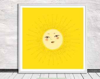 Sun, Rise and Shine, Nursery Art, Illustration, Wall Art, Printable Art, Instant Digital Download