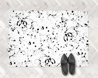 Paint Splash Rug, Paint Spill PVC Rug, Paint Splatter Rug, Black Paint Splash, Black White Rug, Paint Splatter Decor, Paint Rug, Modern Rug