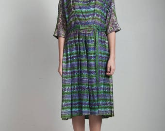 50s vintage watercolor print pleated dress 3/4 sleeves green blue LARGE / extra large L XL