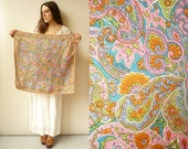 1970's Vintage Psychedelic Floral Printed Silky Satin Square Scarf